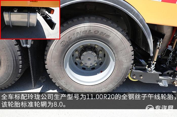 重汽豪沃TX后双桥国六洗扫车评测轮胎、油箱