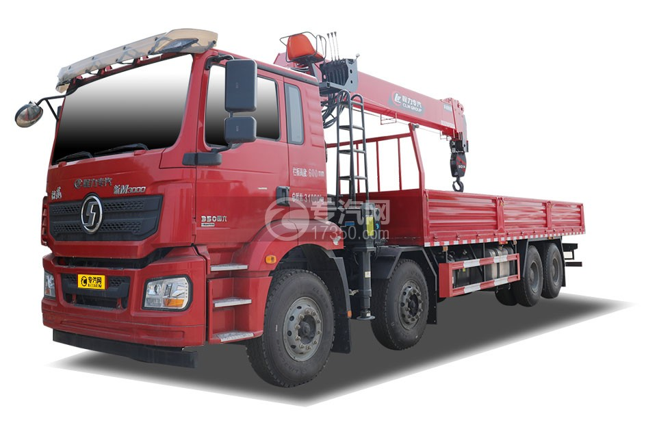 陕汽德龙新M3000前四后八国六14吨直臂随车吊(红色)
