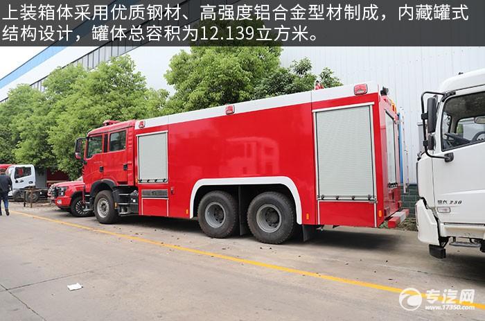 重汽豪沃后双桥国六泡沫消防车评测上装箱体