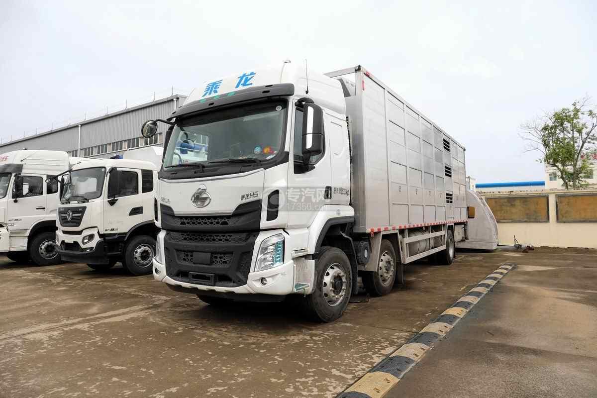 东风柳汽乘龙H5小三轴国六铝合金畜禽运输车左前图