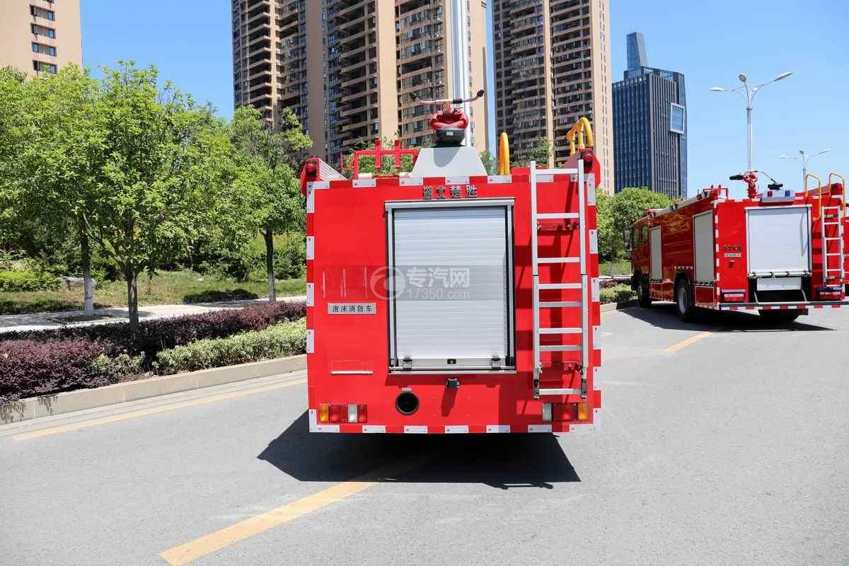 庆铃五十铃ELF双排国六泡沫消防车正后方图