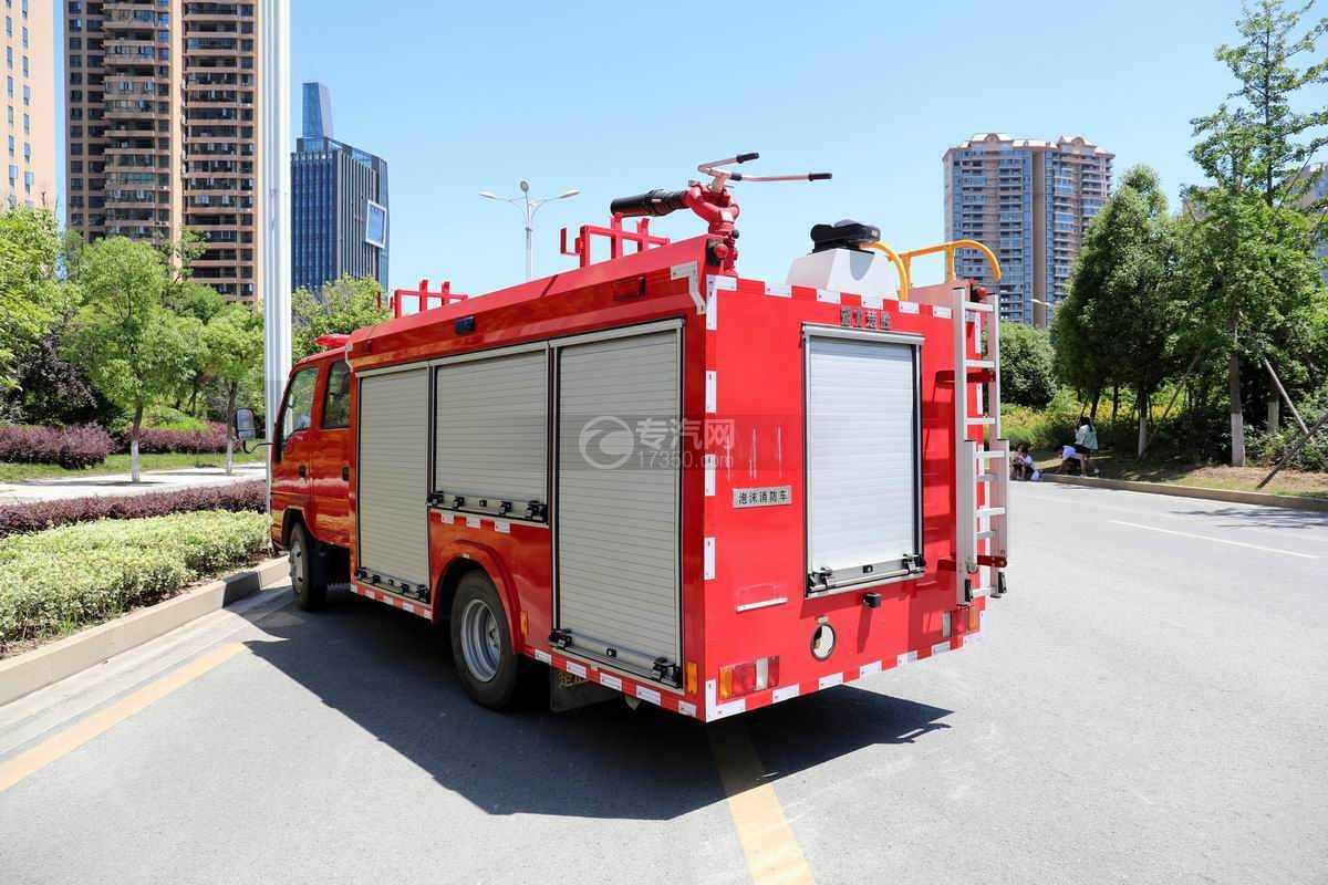 庆铃五十铃ELF双排国六泡沫消防车侧后方图