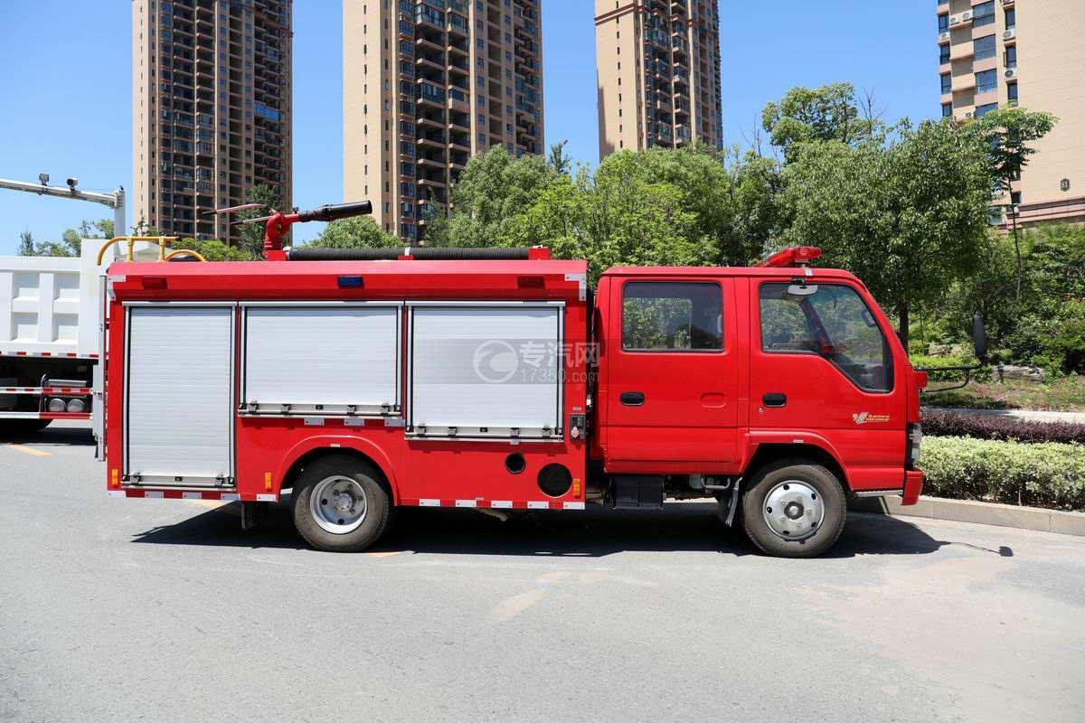 庆铃五十铃ELF双排国六泡沫消防车侧面图