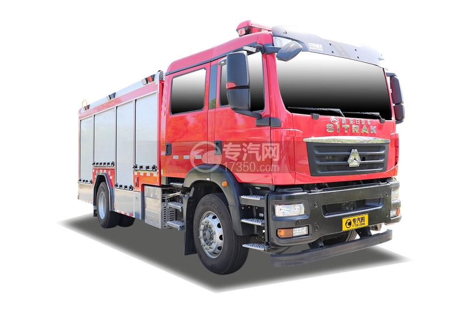 重汽汕德卡雙排國六壓縮空氣泡沫消防車