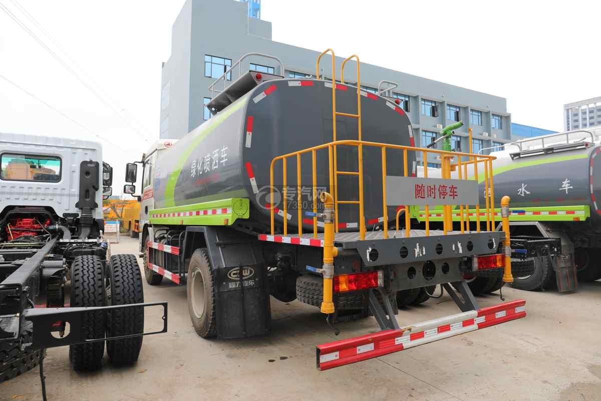 陕汽德龙L3000国六14.49方绿化喷洒车左后图