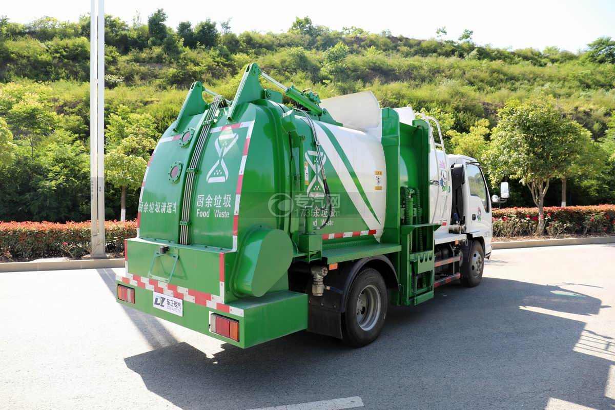庆铃五十铃ELF国六餐厨式垃圾车侧后方图