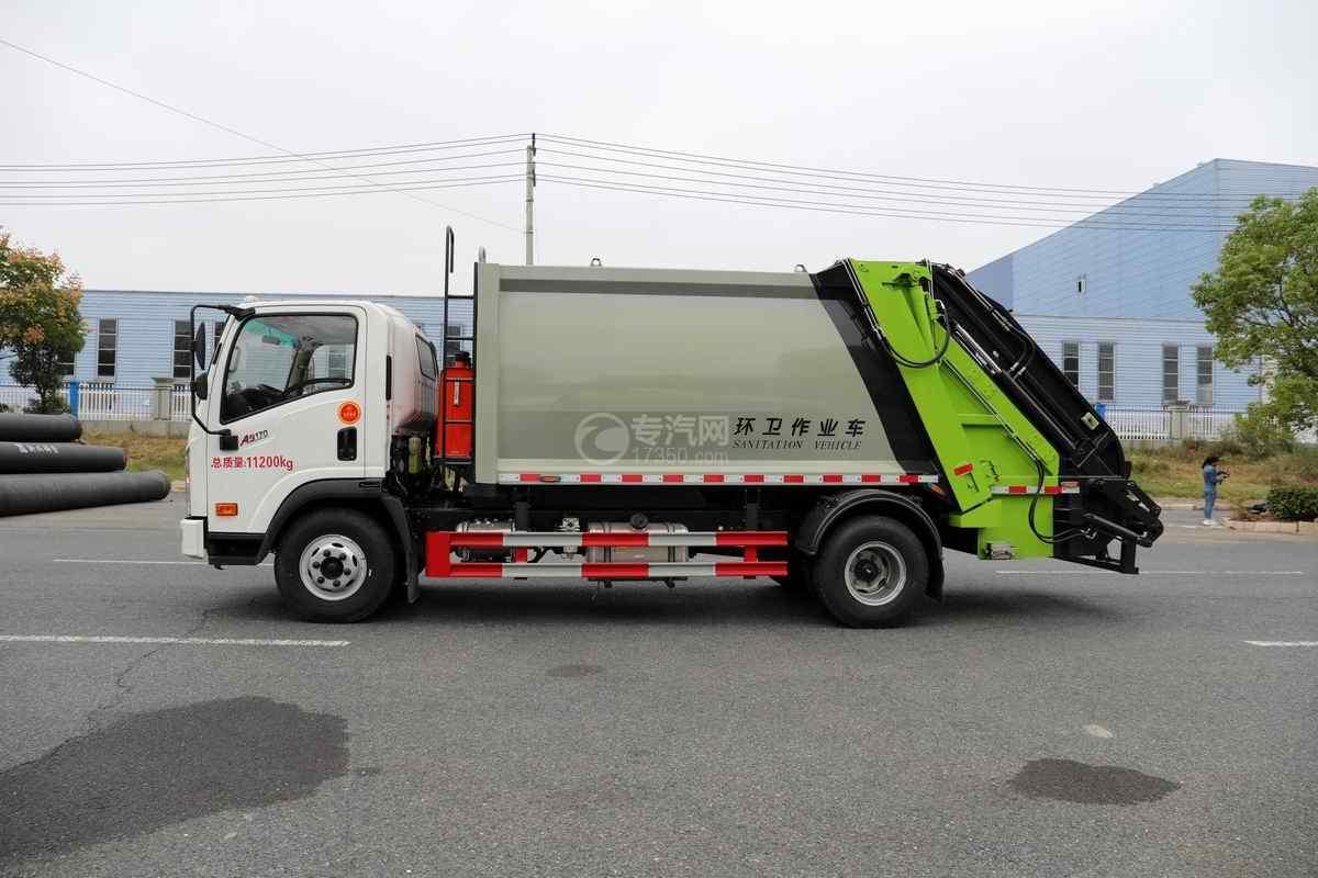 大运奥普力单排国六压缩式垃圾车侧面图