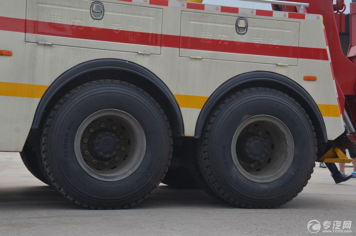 解放J6后双桥拖吊连体清障车轮胎