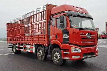 解放牌小三轴国六9.65米仓栅式运输车
